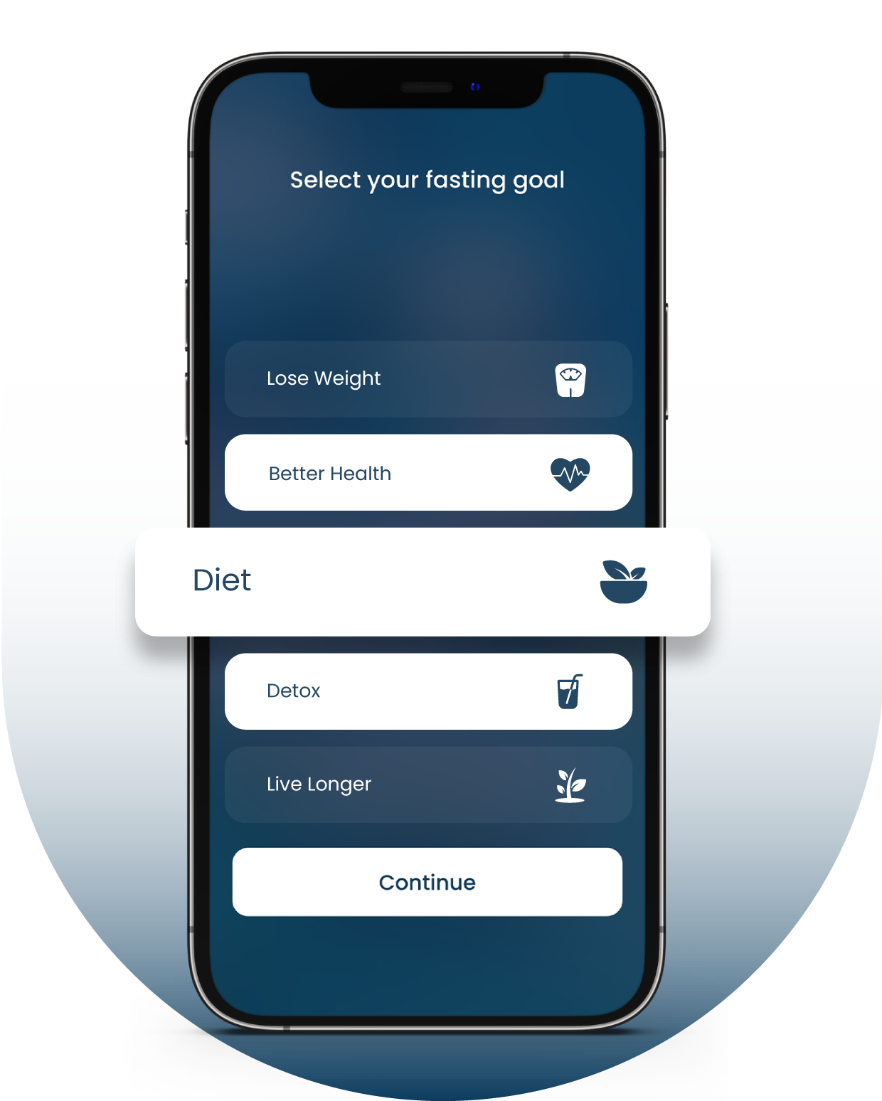 Select Fasting Goal with Fasting App for iPhone