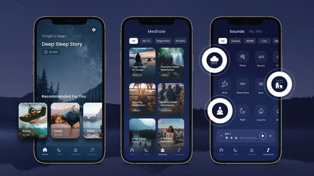 Best sleep sounds and white noise app for iPhone offering sleep music for Insomnia, deep sleep music, asmr sound, deep sleep meditation music, deep sleep music, soothing night sounds, and white noise