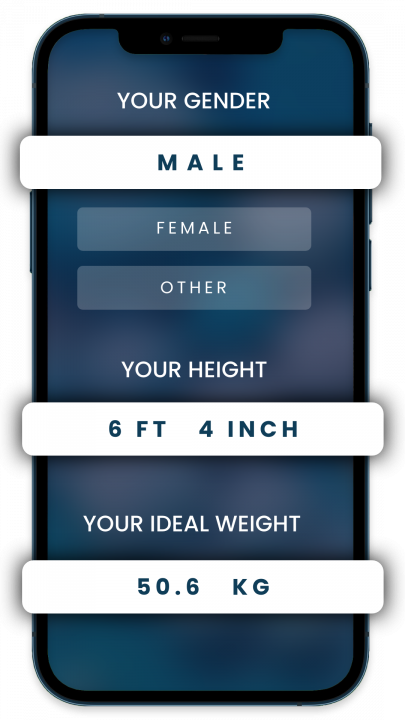 3 mobile screenshots showing height, weight, and gender selection steps