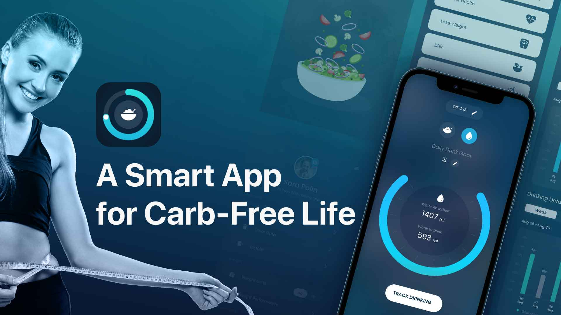 Banner image showing healthy foods background and app interface