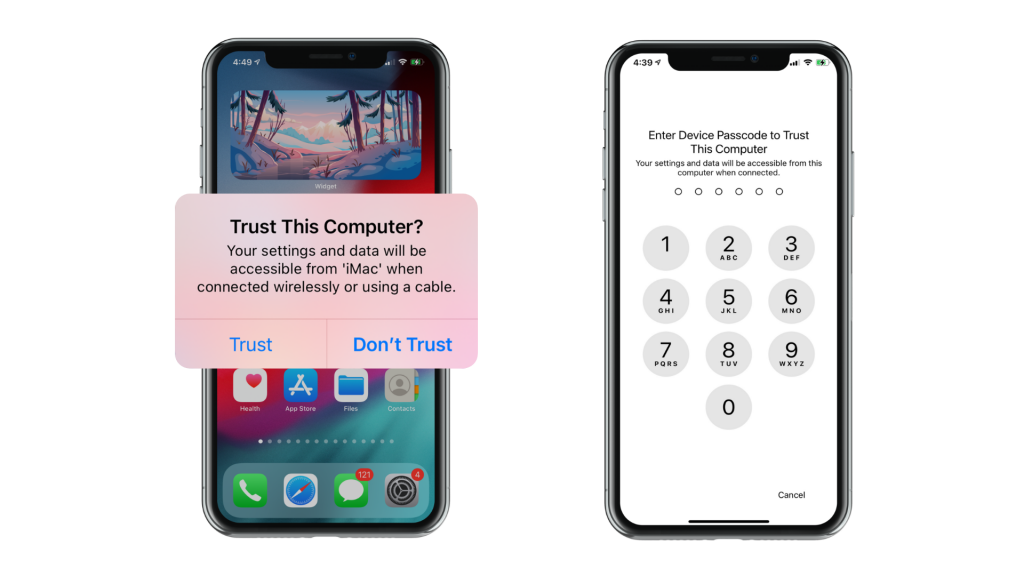 Two phone screenshots showing iPhone syncing with iTunes
