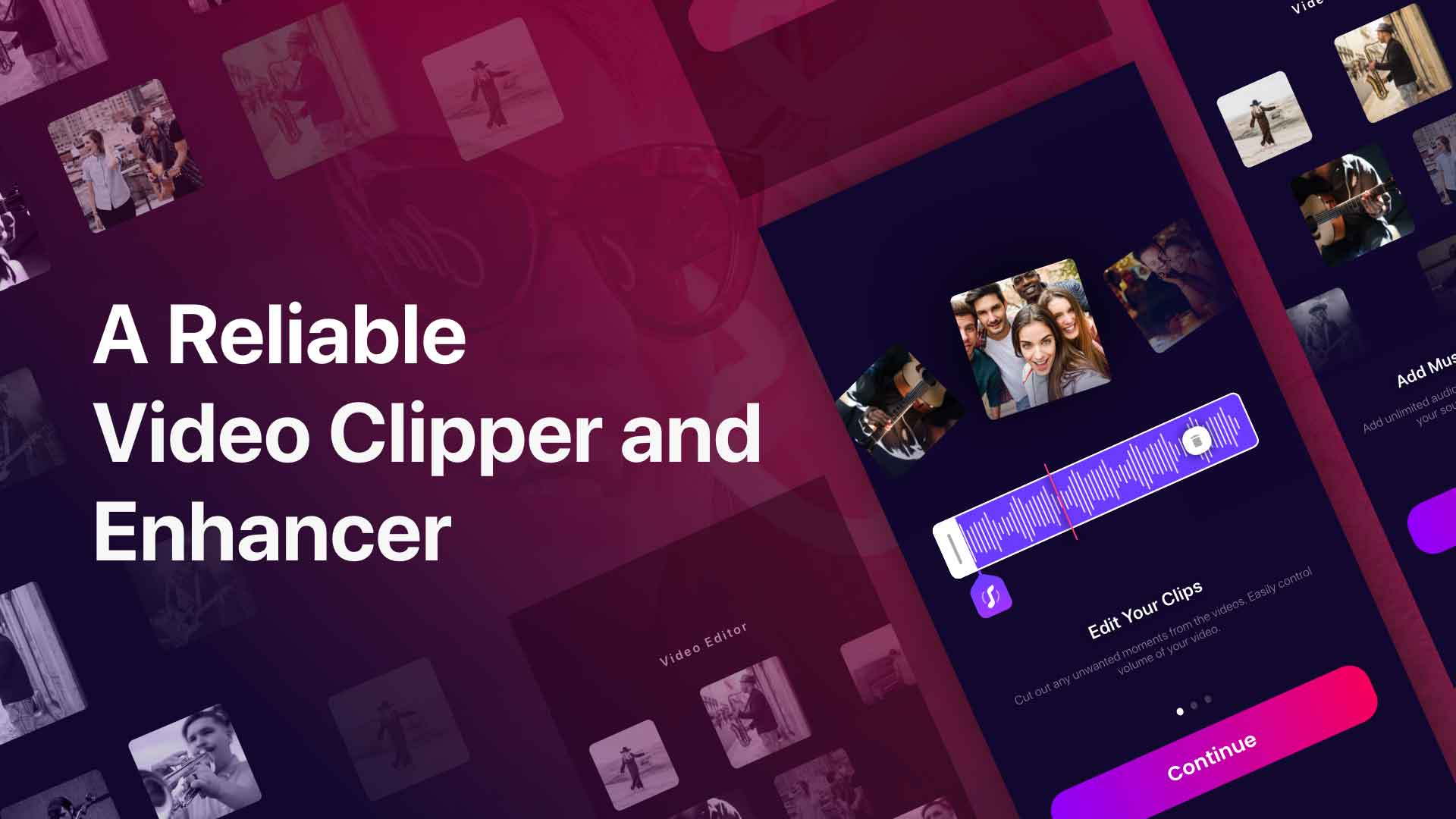 Video Editor app interface Banner