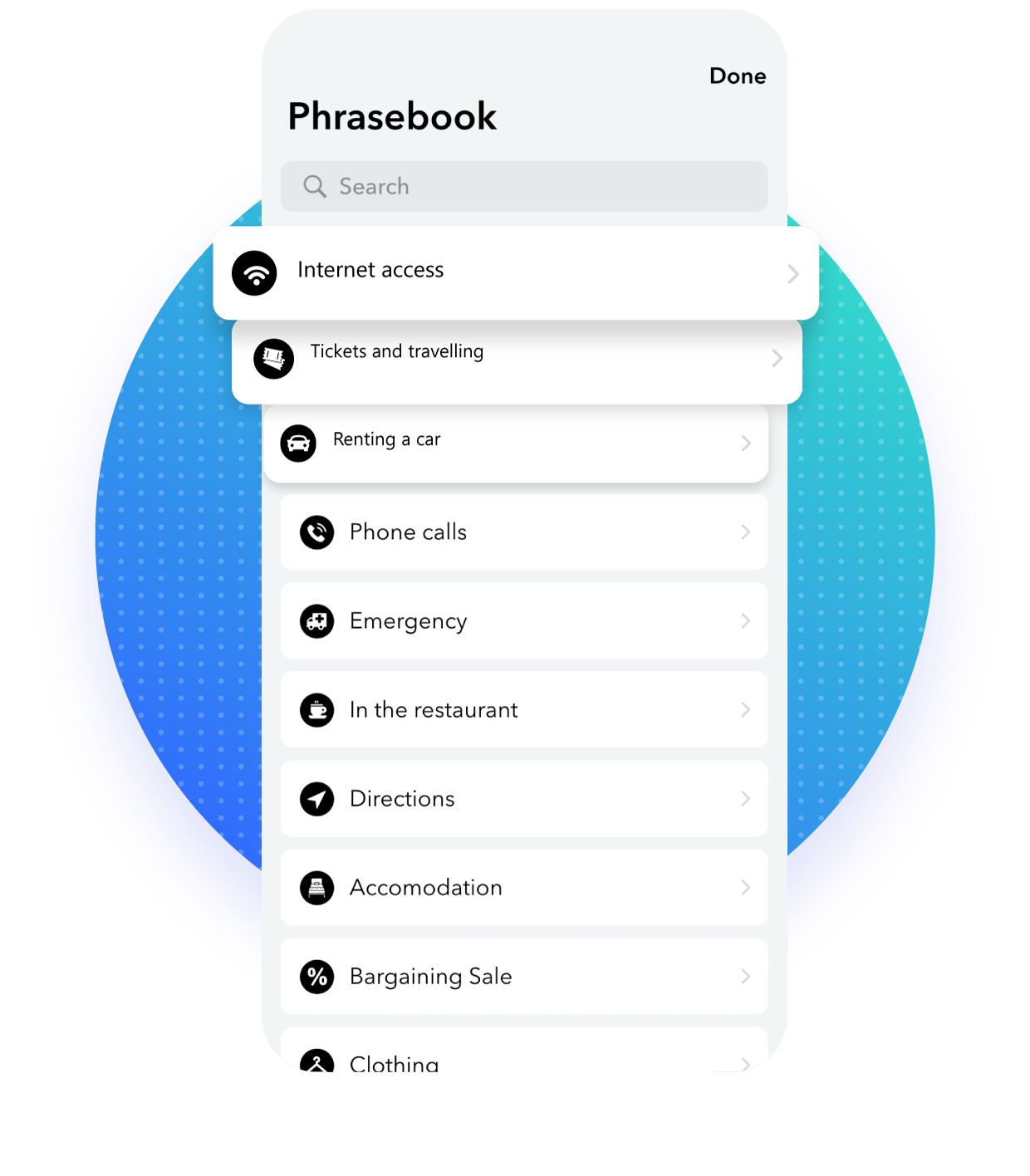Phrasebook Feature with Translator for iPhone & iPad