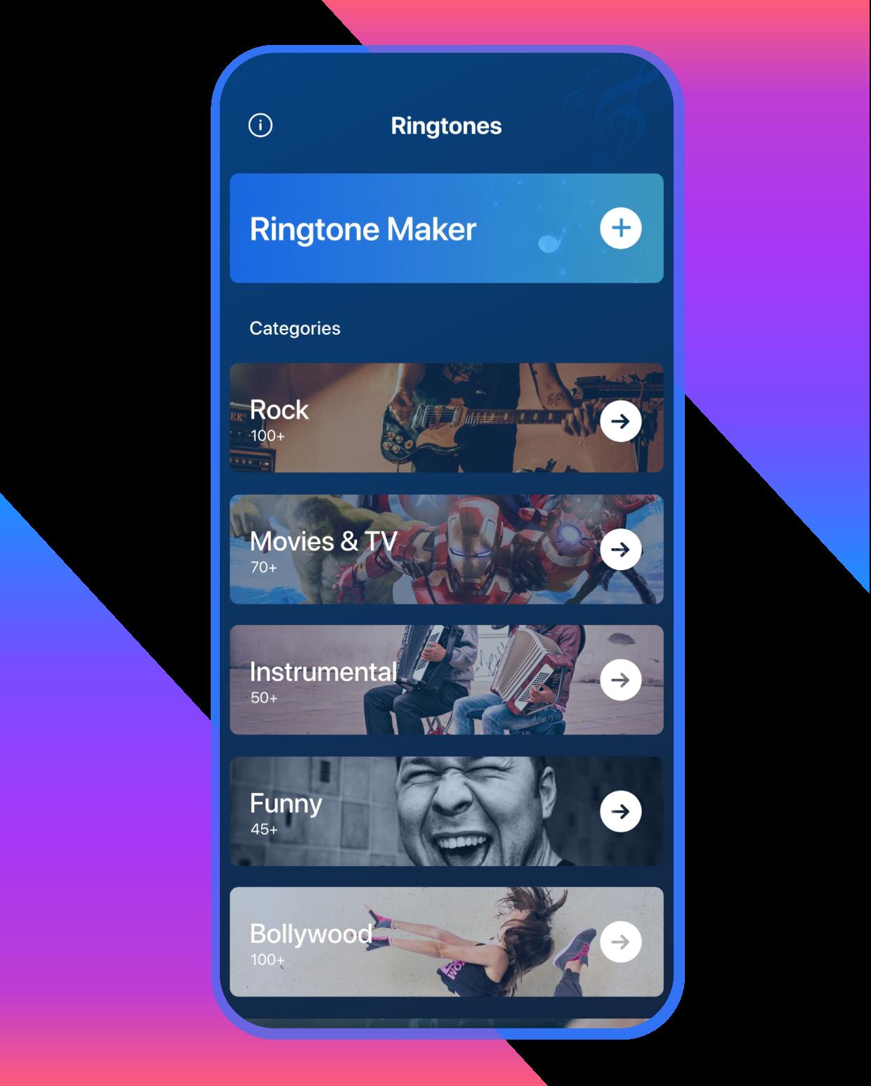 Ringtone categories of Ringtone Maker App