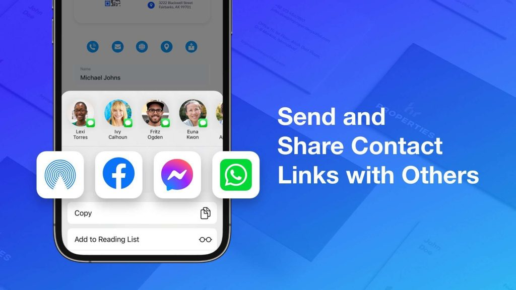 Send and share contact links with others