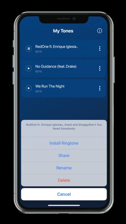 Ringtone installation guide, Share, rename and delete audio files