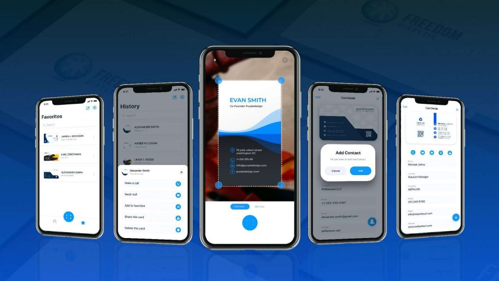 Wrap-up image showing various functional interfaces of business card scanner app