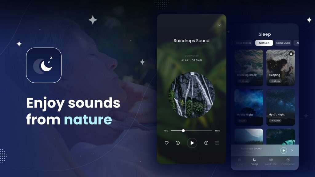Enjoy music and sounds from nature for a deep sleep