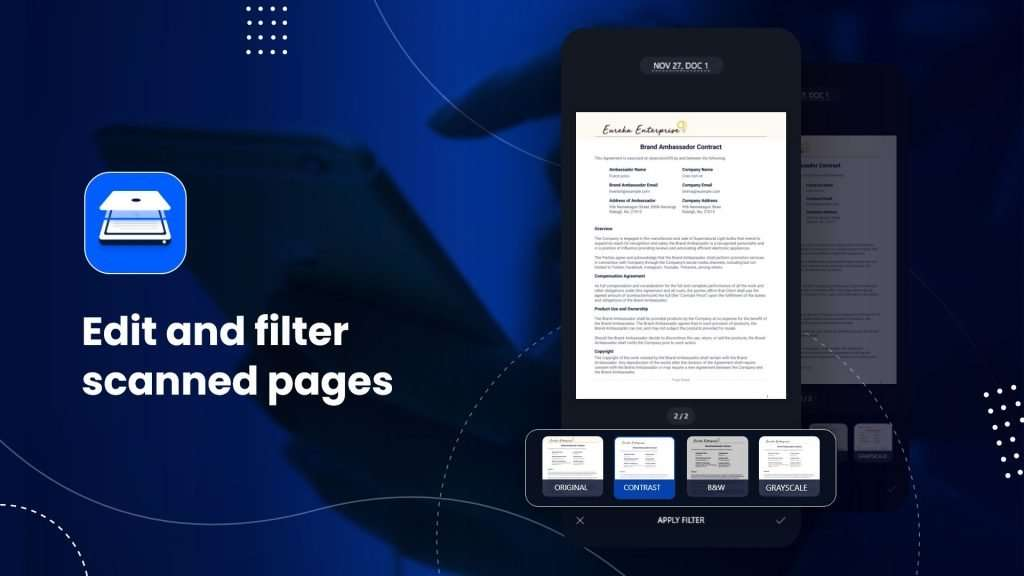 Edit and filter scanner pages