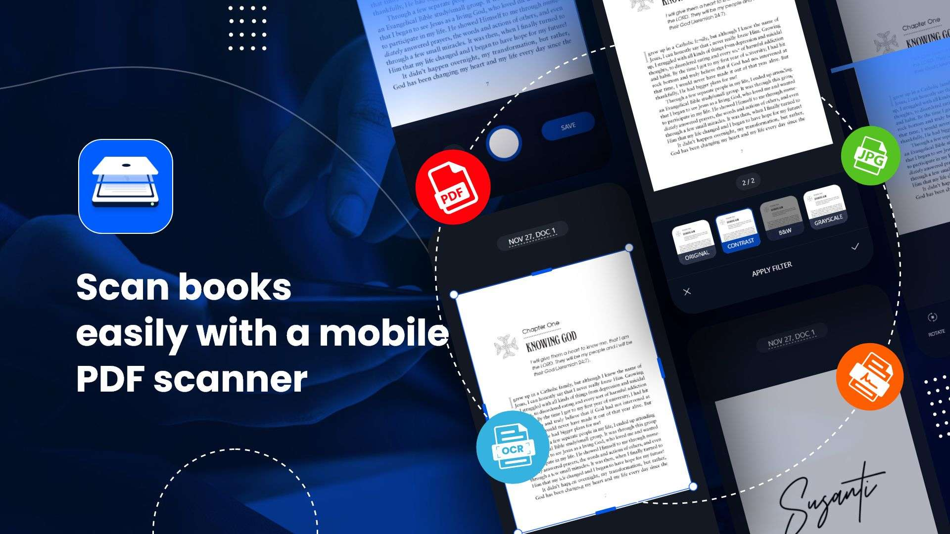 Scan books easily with a mobile PDF scanner