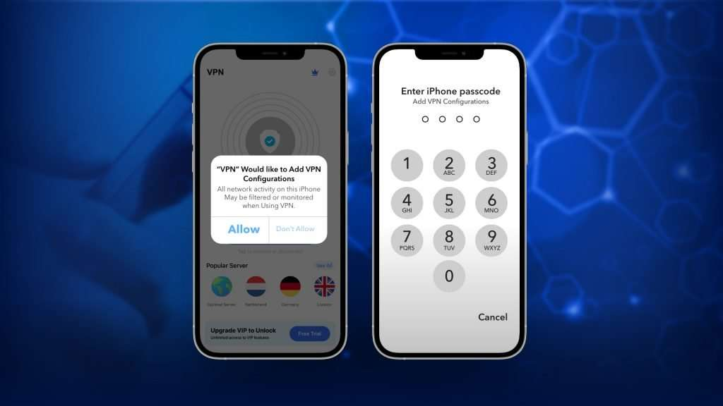 Allow permission to VPN app for VPN configuration on your iPhone