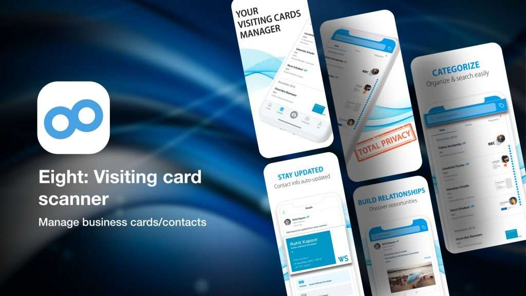 Eight Visiting card scanner-app to scan business cards info on iPhone