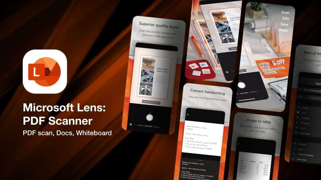 Microsoft Lens PDF Scanner-apps to scan business cards info on iPhone