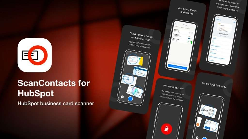 ScanContacts for HubSpot-apps to save business cards info on iPhone