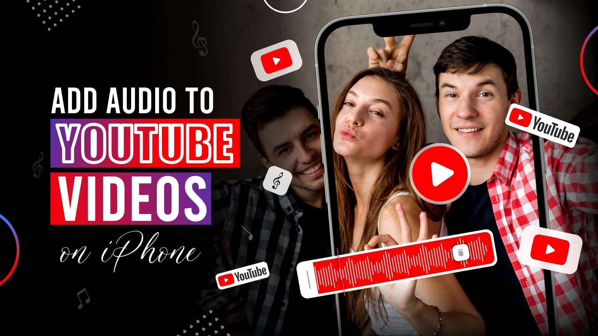 Add audio to a youtube video on iPhone