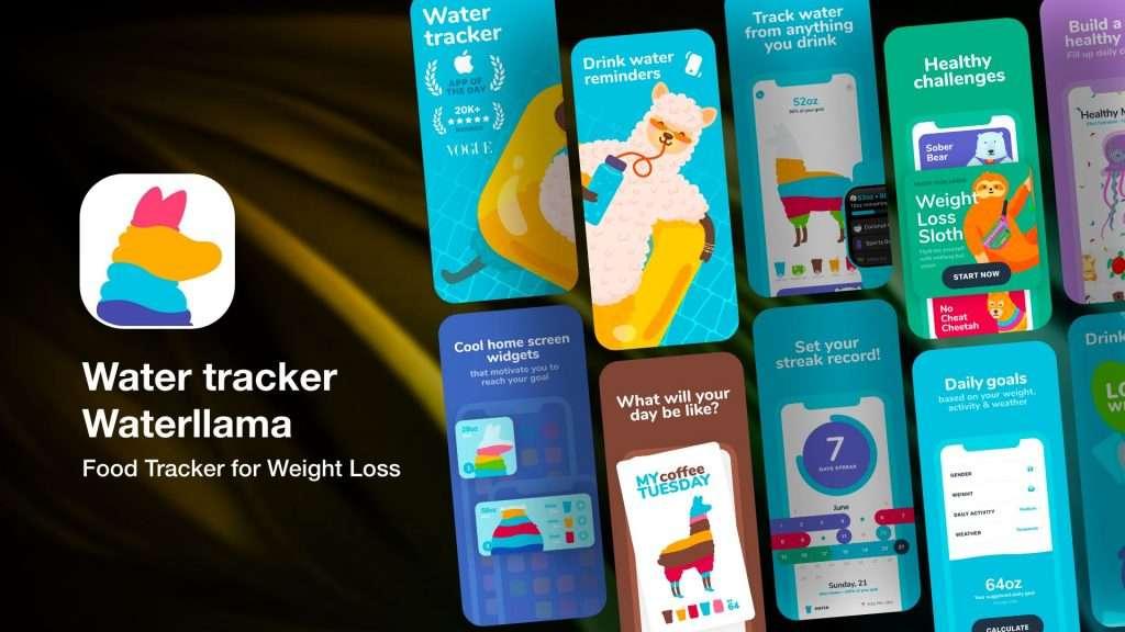 Water tracker Waterllama app for iPhone