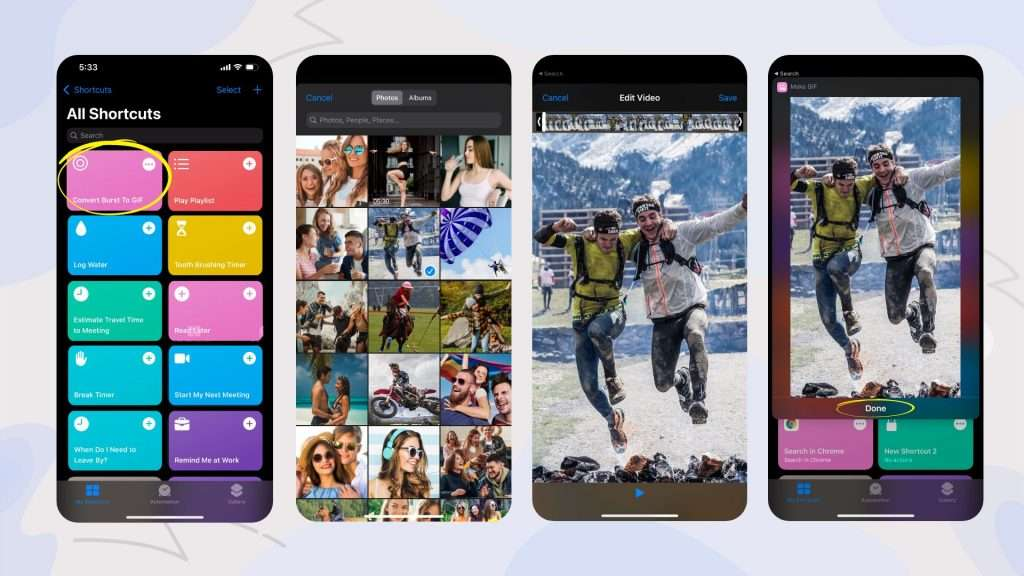 how to make a gif from burst pictures with iPhone Shortcuts app 02